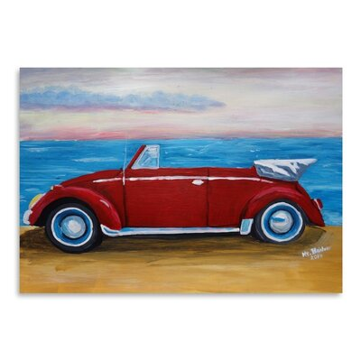 Americanflat 'Red Bug With Sea' by M Bleichner Art Print