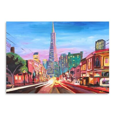 Americanflat 'San Francisco Columbus St. With Cafe Vesuvio And Transamerica At Dawn 1' by M Bleichner Art Print
