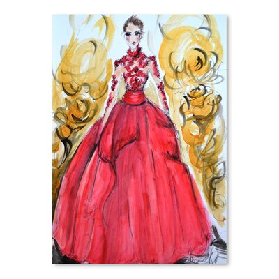 Americanflat 'Rose Red Gown' by Cara Francis Art Print