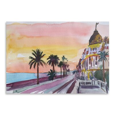 Americanflat Nice France Seaview At Sunset' by Markus Bleichner Art Print