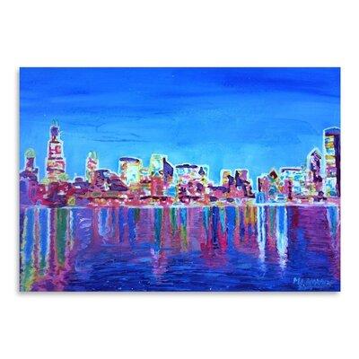 Americanflat 'Chicagoskyline Neon Shimmering' by M Bleichner Art Print