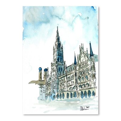 Americanflat Munich City Hall Aquarell' by Markus Bleichner Art Print
