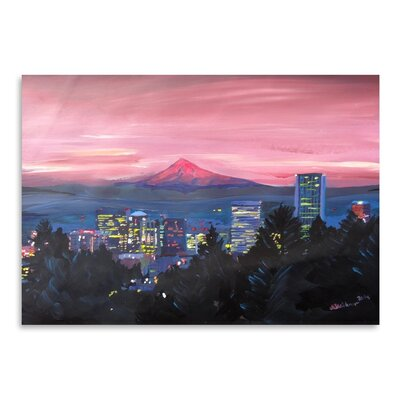 Americanflat 'Portland Or Mt Hood Red' by M Bleichner Art Print