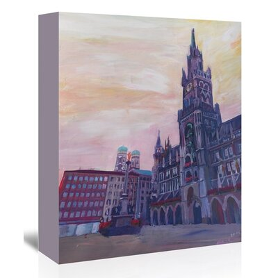 Americanflat 'Munich Marienplatz With Church Of Our Lady At Sunset' by M Bleichner Art Print Wrapped on Canvas