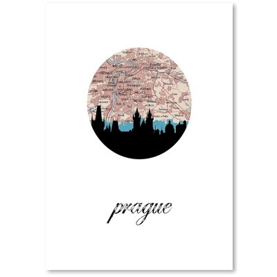 Americanflat 'Prague Map Skyline' by PaperFinch Graphic Art