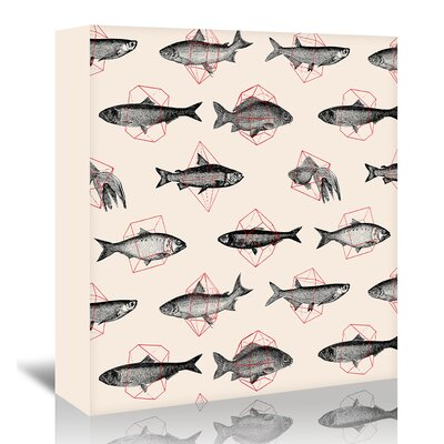 Americanflat 'Fishes In Geometrics' by Florent Bodart Graphic Art Wrapped on Canvas