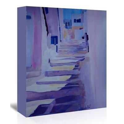 Americanflat 'Enchanting Mykonos Greek Islands Stairs' by M Bleichner Art Print Wrapped on Canvas