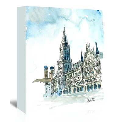 Americanflat 'Munich City Hall Aquarell' by M Bleichner Art Print Wrapped on Canvas
