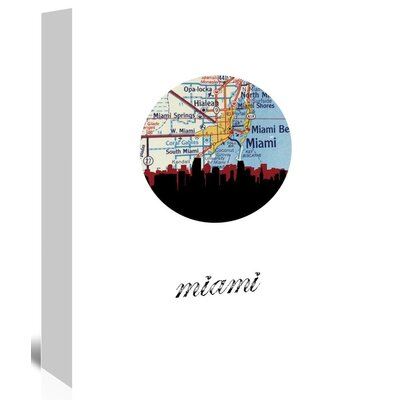 Americanflat 'Miami Map Skyline' by PaperFinch Graphic Art Wrapped on Canvas