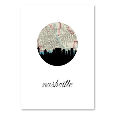 Americanflat 'Nashville Map Skyline' by PaperFinch Graphic Art