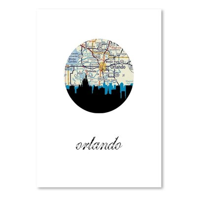 Americanflat 'Orlando Map Skyline' by PaperFinch Graphic Art