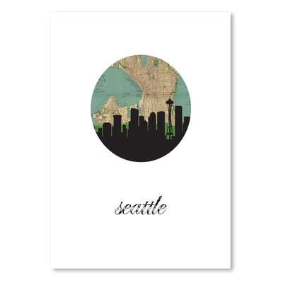 Americanflat 'Seattle Map SKyline' by PaperFinch Graphic Art