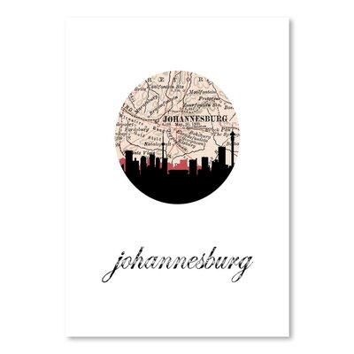 Americanflat 'Johannesburg Map Skyline' by PaperFinch Graphic Art