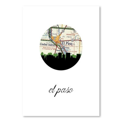 Americanflat 'El Paso Map Skyline' by PaperFinch Graphic Art