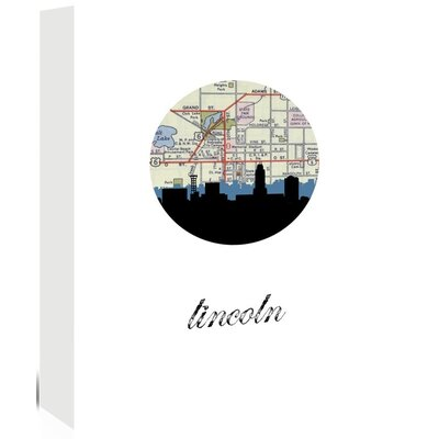 Americanflat 'Lincoln Map SKyline' by PaperFinch Graphic Art Wrapped on Canvas