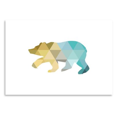 Americanflat 'Mustard Teal Bear Up To' by Melinda Wood Graphic Art