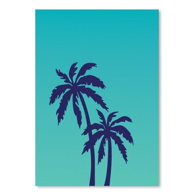 Americanflat 'Palm Tree on Teal' by Ashlee Rae Graphic Art