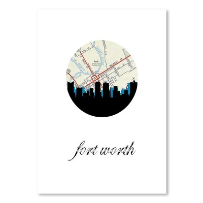 Americanflat 'Fort Worth Map Skyline' by PaperFinch Graphic Art