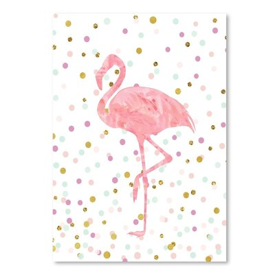 Americanflat 'Flamingo on Confetti' Graphic Art Wrapped on Canvas