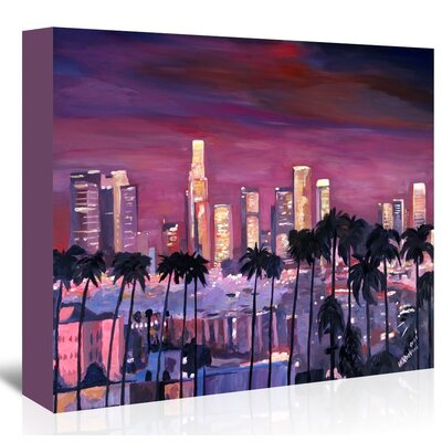 Americanflat Los Angelese Skyline 3' by Markus Bleichner Art Print Wrapped on Canvas