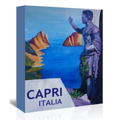Americanflat Capri With Ancient Roman Empire Statue' by Markus Bleichner Vintage Advertisement Wrapped on Canvas