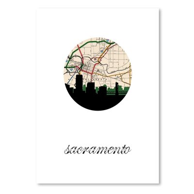 Americanflat 'Sacramento Map Skyline' by PaperFinch Graphic Art