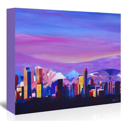 Americanflat Denver Colorado Sunset Mood With Mountains' by Markus Bleichner Art Print Wrapped on Canvas