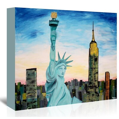 Americanflat 'Statue Of Liberty With View Of New York' by M Bleichner Art Print Wrapped on Canvas