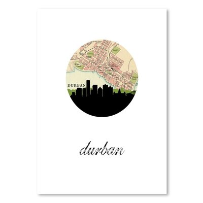 Americanflat 'Durban Map Skyline' by PaperFinch Graphic Art