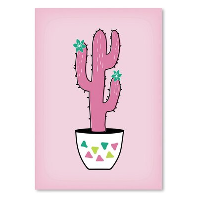 Americanflat 'Pink Cactus' by Ashlee Rae Graphic Art