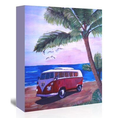 Americanflat 'Surf Bus Under Palms At Dream Beach Spot' by M Bleichner Art Print Wrapped on Canvas
