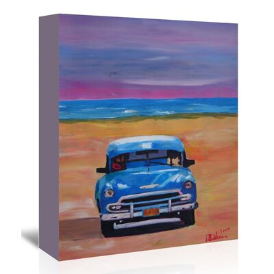 Americanflat 'Magnificient Blue Oldtimer In Cuba At Beach' by M Bleichner Art Print Wrapped on Canvas
