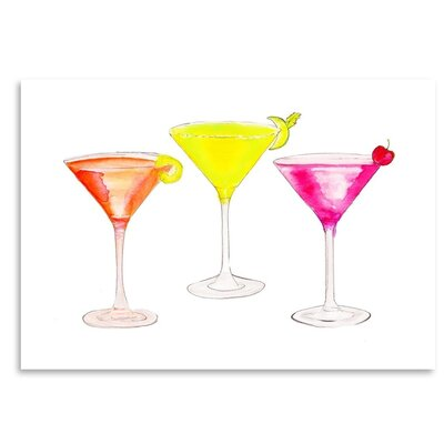 Americanflat '3 Cocktail Glasses' by Alison B Art Print