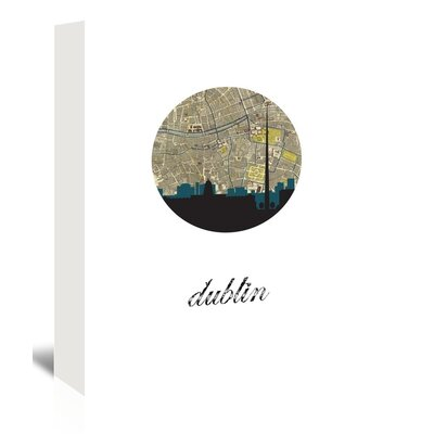 Americanflat 'Dublin Map Skyline' by PaperFinch Graphic Art Wrapped on Canvas