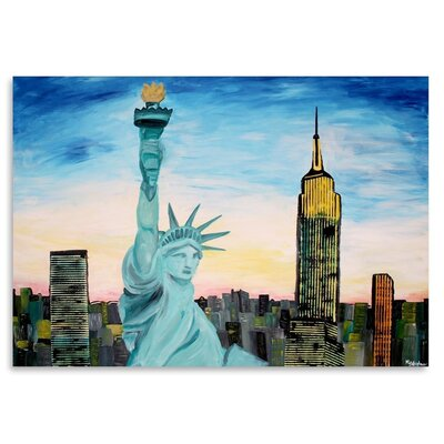 Americanflat Statue Of Liberty With View Of New York' by Markus Bleichner Art Print