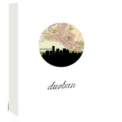 Americanflat 'Durban Map Skyline' by PaperFinch Graphic Art Wrapped on Canvas
