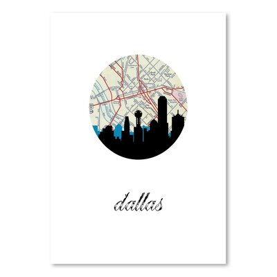 Americanflat 'Dallas Map Skyline' by PaperFinch Graphic Art