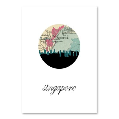 Americanflat 'Singapore Map Skyline' by PaperFinch Graphic Art