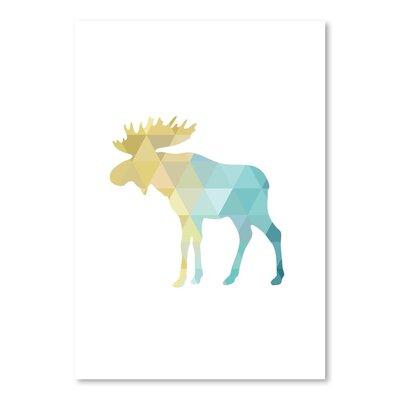 Americanflat 'Turquoise Gold Moose Up To' by Melinda Wood Graphic Art