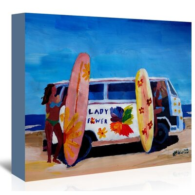 Americanflat 'The Lady Power Surf Bus' by M Bleichner Art Print Wrapped on Canvas