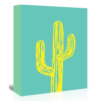 Americanflat 'Cactus on Teal' by Ashlee Rae Graphic Art Wrapped on Canvas