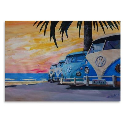 Americanflat 'The Blue Surf Bus Line' by M Bleichner Art Print