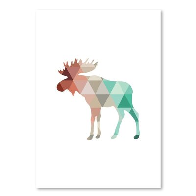 Americanflat 'Mint Coral Moose Up To' by Melinda Wood Graphic Art