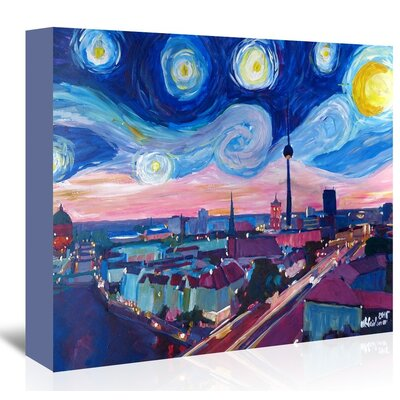 Americanflat 'Starry Night In Berlin' by M Bleichner Art Print Wrapped on Canvas