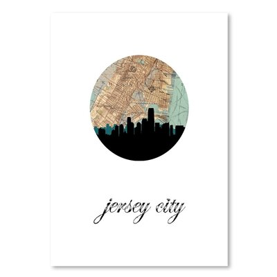 Americanflat 'Jersey City Map Skyline' by PaperFinch Graphic Art