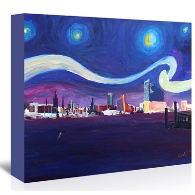 Americanflat 'Starry Night In Hamburg' by M Bleichner Art Print Wrapped on Canvas