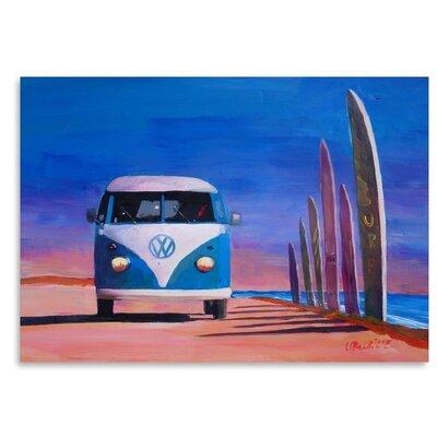 Americanflat 'Blue White Vw Surf Bus T1 Kombie Bulli At Surf Board Road' by M Bleichner Art Print