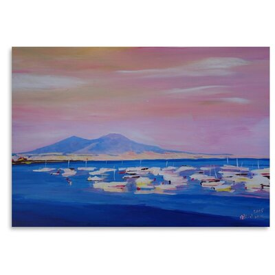 Americanflat Boats In Gulf Of Naples Italy With Vesuvius' by Markus Bleichner Art Print