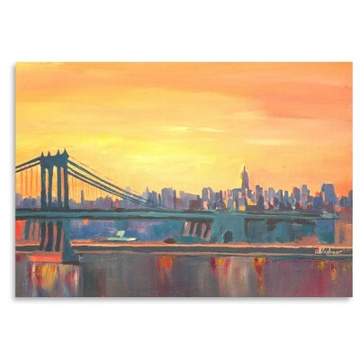 Americanflat 'Blue Manhattan Skyline With Bridge And Vanilla Sky 2' by M Bleichner Art Print