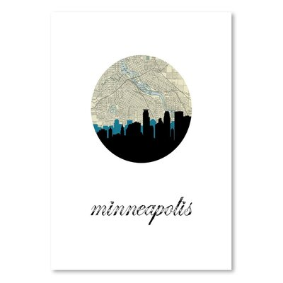 Americanflat 'Minneapolis Map Skyline' by PaperFinch Graphic Art